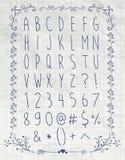 Pen Drawing English Alphabet Letters simple dessus illustration de vecteur