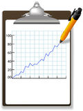 Pen drawing financial growth chart clipboard Royalty Free Stock Image