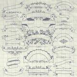 Pen Drawing Floral Design Elements, fitas, bandeiras Imagem de Stock Royalty Free