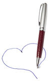 Pen drawing heart Royalty Free Stock Photos