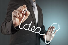 A pen drawing light bulb Royalty Free Stock Photography