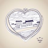 Pen drawing native style heart shape witn urban art Royalty Free Stock Photo