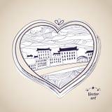 Pen drawing native style heart shape witn urban art Royalty Free Stock Photo