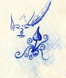 Pen drawing on old paper elf with stars and ornament and psychedelic mushroom. Sketch on paper. Royalty Free Stock Photo