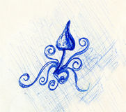 Pen drawing on old paper and ornament, sketch psychedelic mushroom. Royalty Free Stock Photo