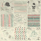 Pen Drawing Seamless Patterns auf zerknittertem Papier Lizenzfreies Stockfoto