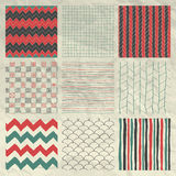 Pen Drawing Seamless Patterns on Crumpled Paper Royalty Free Stock Images