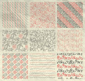 Pen Drawing Seamless Patterns on Crumpled Paper. Set of Nine Red and Grey Abstract Artistic Hand Sketched Geometric Seamless Background Patterns on Crumpled stock illustration
