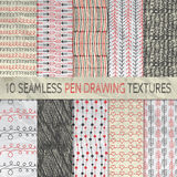 Pen Drawing Seamless Patterns on Crumpled Paper Stock Images