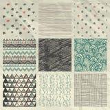 Pen Drawing Seamless Patterns en el papel arrugado Imagen de archivo