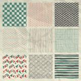 Pen Drawing Seamless Patterns en el papel arrugado Fotos de archivo libres de regalías