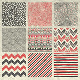 Pen Drawing Seamless Patterns On Crumpled Paper Royalty Free Stock Image