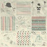 Pen Drawing Seamless Patterns su carta sgualcita Fotografia Stock Libera da Diritti
