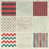 Pen Drawing Seamless Patterns su carta sgualcita Immagini Stock Libere da Diritti