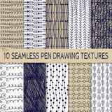 Pen Drawing Seamless Textures Royalty-vrije Stock Fotografie