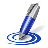 Pen drawing a shape. Creativity, web blogging and internet communication concept: blue metal ballpoint pen drawing a curved shape isolated on white background Stock Image