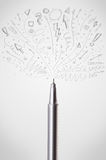 Pen drawing sketchy arrows. And lines Royalty Free Stock Photo