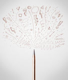 Pen drawing sketchy arrows. And lines Royalty Free Stock Image