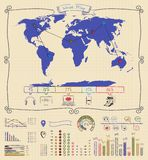 Pen Drawing Warld Map Infographics Arkivfoton