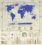 Pen Drawing Warld Map Infographics sur chiffonné Photographie stock