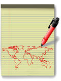 Pen drawing World Map on Legal Pad Paper red ink Stock Photos