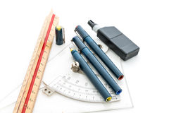 Pen drawings , adjust angle tool , scale ruler , cutter , ink on Stock Photo