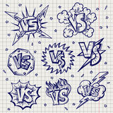 Pen drawn versus confrontation labels. Ballpoint pen drawing versus or VS confrontation labels on notebook page. Vector illustration Royalty Free Stock Images