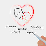 Pen that draws heart of couple in love. Vector Royalty Free Stock Images
