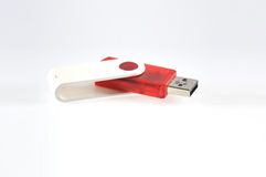 Pen drive. Red color pen drive in white background Royalty Free Stock Images