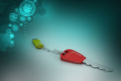Pen drive connect with key. In color background Stock Image
