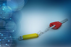 Pen drive connect with key. In color background Royalty Free Stock Photography