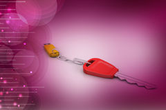 Pen drive connect with key. In color background Royalty Free Stock Images