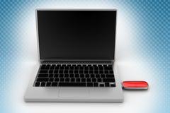 Pen Drive Connect To Laptop à l'arrière-plan tramé Images stock