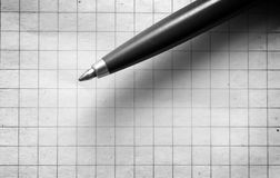 Pen on empy piece of paper. Royalty Free Stock Images