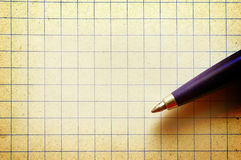Pen on empy piece of paper. Stock Photos