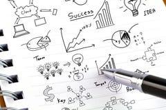 Pen en bedrijfsgrafiek Stock Foto