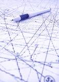 Pen en blauwdrukken voor abstract bouwproject Royalty-vrije Stock Fotografie