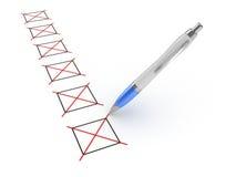 Pen en Checkboxes Royalty-vrije Stock Foto