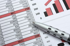 Pen en cijfers Royalty-vrije Stock Foto's