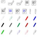 Pen en document - geplaatste pictogrammen Stock Foto
