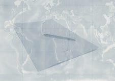 Pen en document op kaart vector illustratie