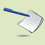 Pen en een document Royalty-vrije Stock Afbeeldingen