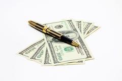 Pen en geld Stock Foto