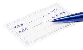 Pen en kenteken met inschrijving 123 en abc Stock Fotografie