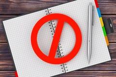 Pen en Persoonlijke Organisator Book met Rood Belemmerd Teken 3d ren Royalty-vrije Stock Foto