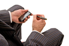 Pen en telefoon Stock Afbeeldingen