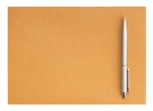 Pen on the envelope on white background Royalty Free Stock Photo
