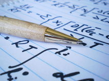 Pen and Equations Royalty Free Stock Photo
