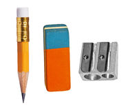 Pen, eraser and sharpener Royalty Free Stock Photo