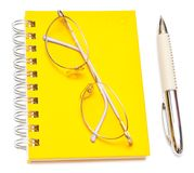 Pen and eye glasses Stock Photo